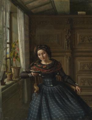 Carl Ludwig Jessen - Interieur mit junger Frau in Föhrer Tracht