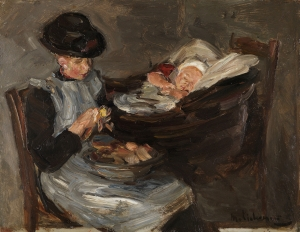 Max Liebermann - Mädchen aus Laren beim Kartoffelschälen mit schlafendem Kindim Korb