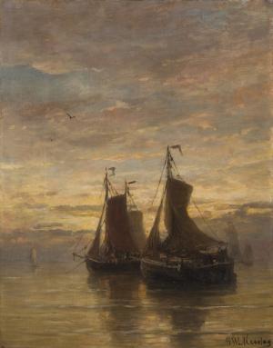 Hendrik Willem Mesdag - Ankernde Fischerboote in der Abenddämmerung