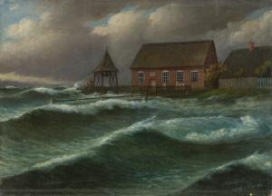 Julius Stockfleth - Sturmflut auf der Hallig Oland