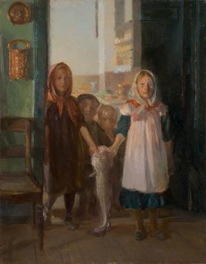Anna Ancher - Skagener Kinder tragen einen Dorsch herein