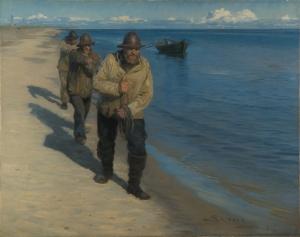 Peder Severin Krøyer - Drei Fischer ziehen ein Boot